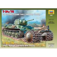 упаковка игры Танк Т-34/76 1:35 с минным тралом