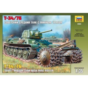 Танк Т-34/76 1:35 с минным тралом