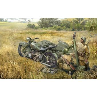 Советский мотоцикл М-72 с минометом 1:35